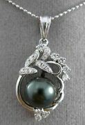 Antique .26ct Diamond And Aaa Tahitian Pearl 18kt White Gold Floating Pendant