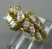 Estate Wide 1.0ct Marquise And Baguette Diamond 14kt Yellow Gold Anniversary Ring