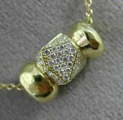 Estate .70ct Diamond 18k Yellow Gold 3d Handcrafted Hammer Look Floating Pendant