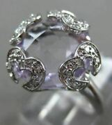 Estate Large 7.89ct Diamond And Aaa Light Amethyst 14k White Gold 3d Love Ring