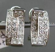 Estate .63ct Round Diamond 14kt White Gold Double Sided Pave Clip On Earrings