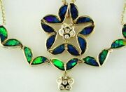 Estate Large .09ct Diamond And Opal 14kt Yellow Gold Flower Star Pendant Necklace