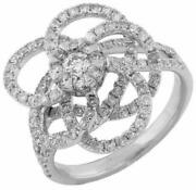 Estate Wide 1.35ct Diamond 14kt White Gold Flower Love Knot Circle Of Life Ring