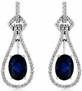 Estate 2.34ct Diamond And Sapphire 14k White Gold Tear Drop Oval Hanging Earrings
