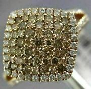 Estate .95ct White And Fancy Chocolate Diamond 14kt Rose Gold 3d Square Halo Ring