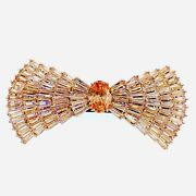 Usa Bow Barrette Hair Clip Hairpin Use Crystal Elegant Champagne Cz61