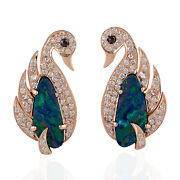 Memorial Day 18k Rose Gold Doublet Opals And Diamond Duck Stud Earrings Jewelry