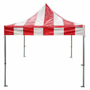 Commercial Pop Up Canopy Tent 10x10 Instant Red Striped 5 Height Positions 50mm