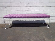 Bench Bed Vintage Vanity Wood Seating Tufted Hollywood Regency French Provincial