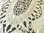 Ornate Antique Madeira Embroidery Linen Tablecloth 12 Napkins 76x106