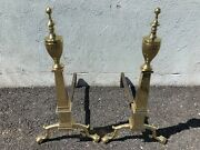 Heavy Solid Brass Eagle Etched Pair Of Andirons 26 1/2 X 13 1/2 X 21 1940and039s