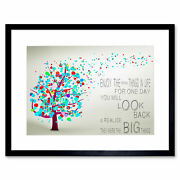 Enjoy Little Things Life Bubble Tree Quote Framed Wall Art Print 12x16 In