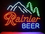 New Rainier Beer Mountain Neon Light Sign 20x16 Beer Cave Bar Real Glass