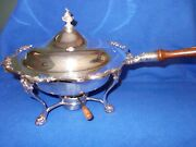 Silverplate Covered Chafing Pan W/footed Stand And Burner Gorham Heritage Yh347