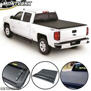 Tonneau Cover Soft Four-fold Fit For Sierra Silverado Pickup Truck 6.6ft Bed