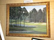 Darren Connors Framed Oil Painting Canvas Point Sebago Golf Course Maine