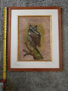 Leaf On Wood Owl Painting W/ Natural Leaf Applique Not Signed Unknown Artist