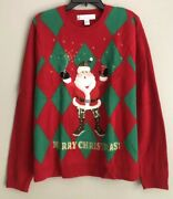 Jolly Sweaters Ugly Christmas Sweater Santa Goes Wild Mens Size L 42-44 New