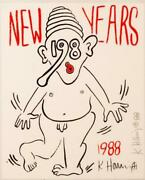 Keith Haring Neuf Ans Invitation 1988 Chair Sandeacuterigraphie Main Signandeacutee