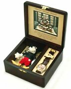 Disney Micky Mouse Watches Wooden Case Limited To 5000 Worldwide W/doll F/s