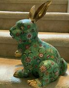 Chinese Cloisonne Rabbit.right Paw Up. 23 Lb 16x15x10