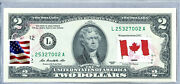 Us Currency Notes Federal Reserve Bank Two Dollar Bill Business Gift Flag Canada