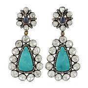 Natural Turquoise Sapphire Rose Cut Diamond Vintage Dangle Earrings Silver Gold