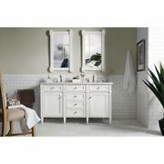 60 James Martin Brittany Cottage White Double Bathroom Vanity + Marble Top Sink