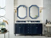 72 James Martin Brittany Blue Double Bathroom Vanity + White Quartz Top And Sink