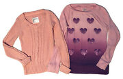 Justice Girls Sweater Lot Size 8 Pink Sparkly Cable V-neck, Purple Hearts Ombré