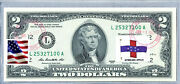 Uncirculated Money Two Dollar Bill Us Currency Stamped Flag Netherland Antilles