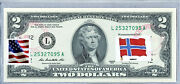 Two Dollar Bill Federal Reserve Bank Note Paper Money Us 2 Currency Flag Norway