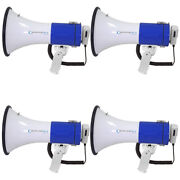 Pyle Set Of 4 Megaphone Pa With Siren Alarm Mode And Adjustable Volume Control