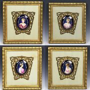 Antique Set 4 Miniatures Paintings On Porcelain Maiden - Seasons Of The Year