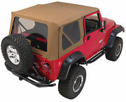 Soft Top Canvas + Front Upper Doors 3 Rear Clear Windows 97-06 For Jeep Wrangler