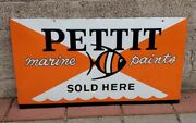 1950and039s Pettit Marine Paints Sign--see My Other Original Porcelain Neon Old Sign