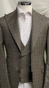 Beige/sky Blue/brown Super 150 Cerruti 3 Piece Wool Suit With Wide Peak Lapel