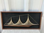 Mid Century Modern 3-d String And Nail Teak Sailboat Art 12andrdquo X 26 1/2andrdquo X 1andrdquo