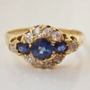 Fine Antique Victorian 18ct Gold Sapphire And Diamond 0.30ct Cluster Ring C1900
