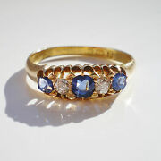 Stunning Antique Victorian 18ct Gold Sapphire And Diamond Five Stone Ring C1889