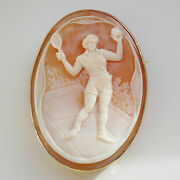 Stunning Vintage 9ct Gold Tennis Player Cameo Brooch C1940and039s