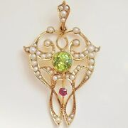 Antique Edwardian Suffragette 9ct Gold Ruby Peridot And Pearl Pendant C1910