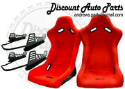 Spoon Style Light Bucket Seats In Red Cloth Pair W/ V2 Long Mount+sliders Jdm