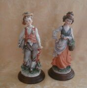 Giuseppe Armani Figurines Country Girl W/flower Basket And Country Boy
