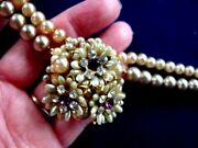 Vintage Robert Faux Cream And Gray Pearl And Purple Rhinestone Choker Necklace Rare