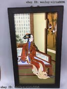 China Wooden Inlaid Porcelain Pottery Painting Figures Ladies Girl Female Screen