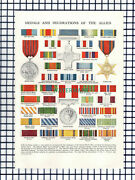 6683 Medals And Decorations Of The Allies World War Two - 1950s Print / Cutting