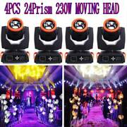 4x 7r Sharpy 230w Moving Head Beam Light With Glass Gobo 16+8 Prims Us