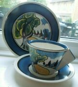 Clarice Cliff May Avenue Wedgwood Conical Cup Saucer Plate Trio