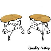 Pair French Art Nouveau Style Stool Bench Seats W/ Scrolling Wrought Iron Frame